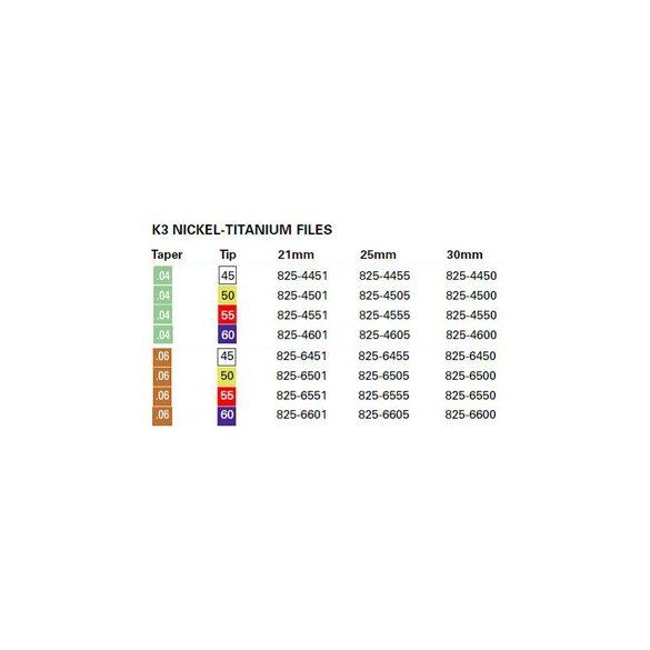 K3 Ni-Ti files  ISO 045-060 .04-.06 (6db)